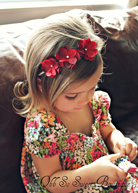 Cute red hydrangea flower headband baby girl toddler