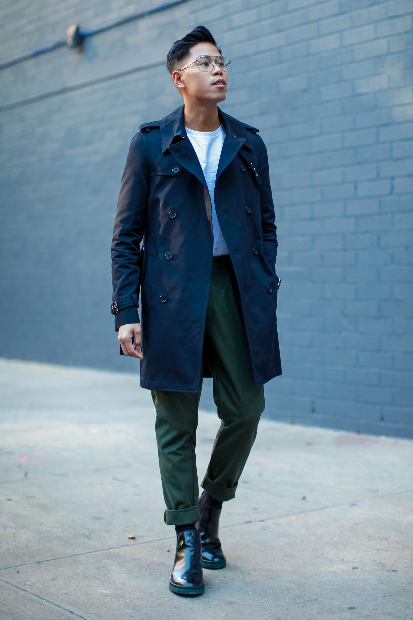 mens trench coat street style | Trench coat men, Blue trench