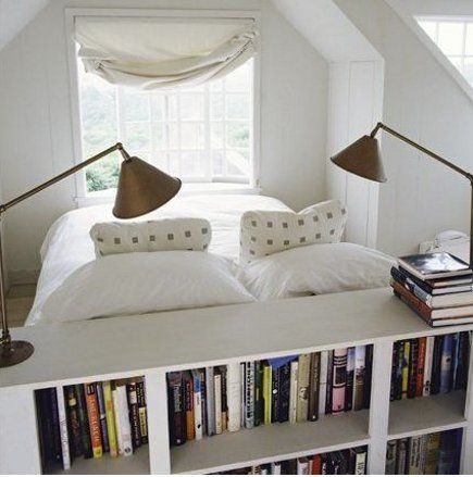 bed facing window headboard doubles as bookshelves. & Google Image Result for http://www.atticmag.com/wp-content/uploads ... Pezcame.Com