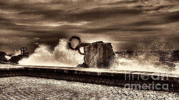 Chillidas Comb of the Wind in San Sebastian Basque Country Spain Sepia Version - Weston Westmoreland