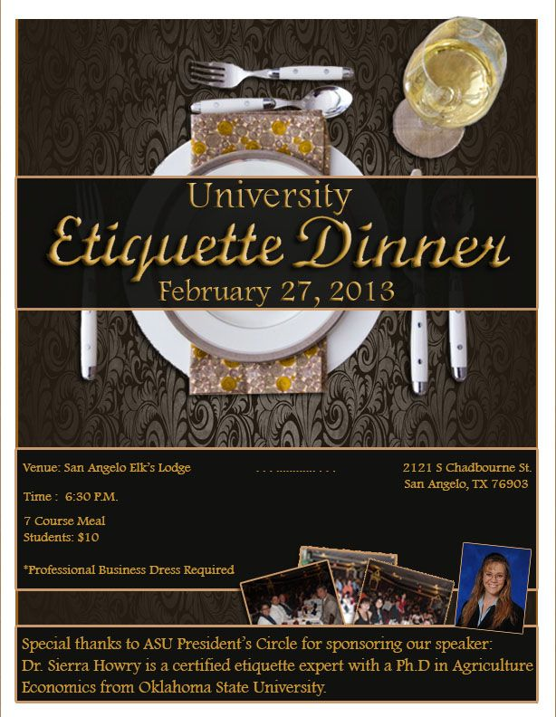 Etiquette Dinner April   Angelostateuniversity  Career