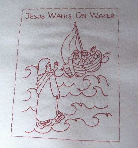 Machine Embroidered Quilt Blocks New Testament Redwork Finished size 8 by Ooakdolly, $6.00