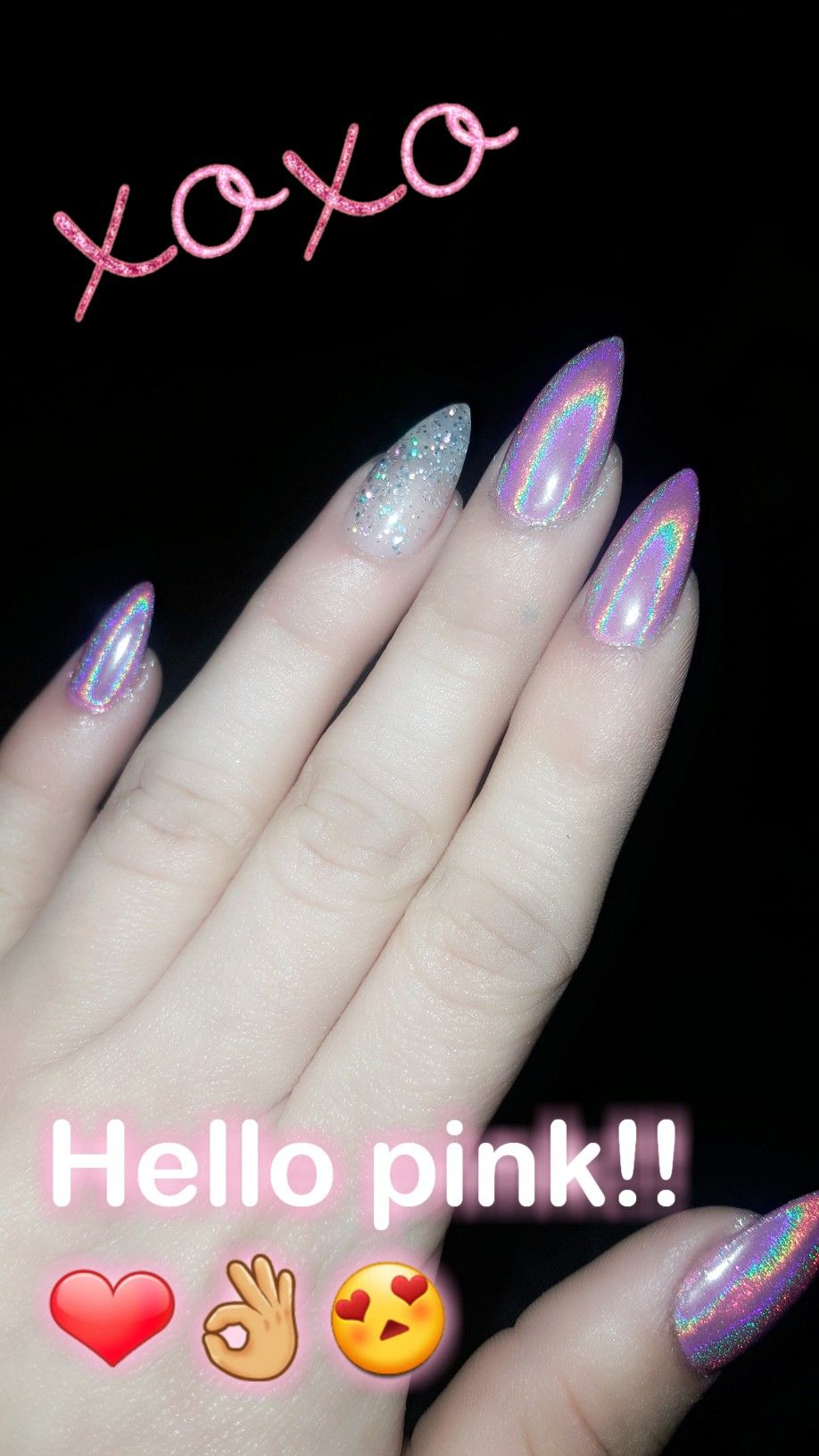 Galaxy Chrome Pink Nails with Glitter ring Finger ❤ | nails ...