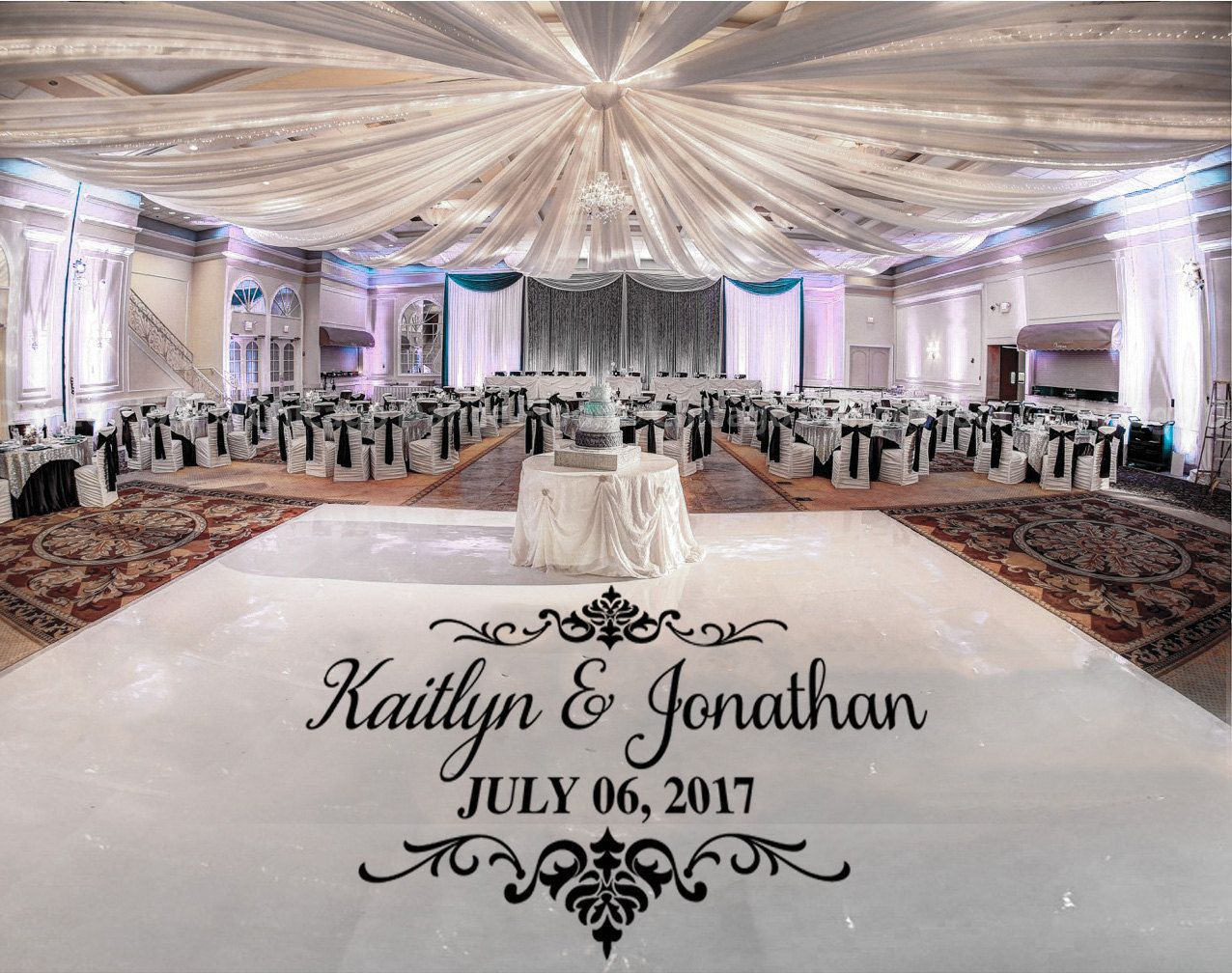 Clic Damask Theme Dance Floor Wedding Logo Decal Personalized Names With Date Large Size