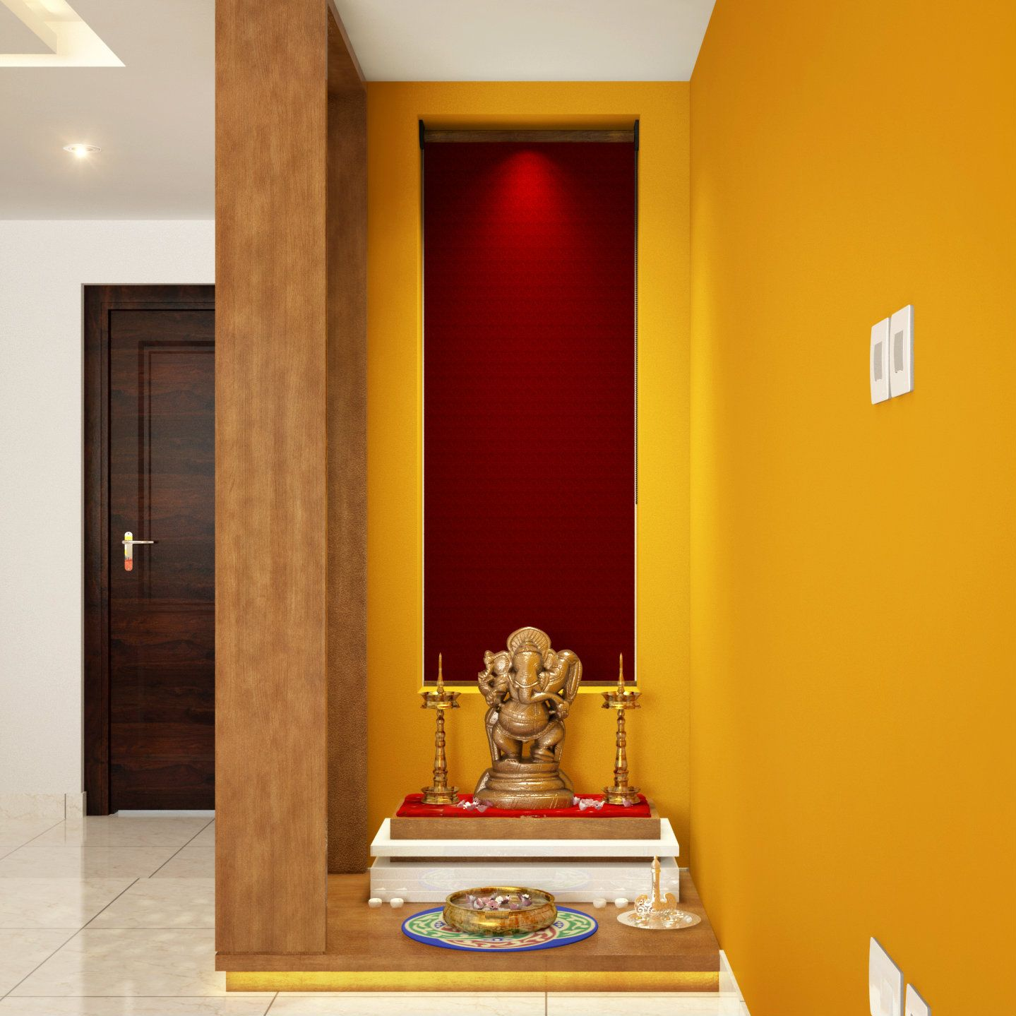 Niche converted to stylish Pooja corner | Pooja Room Design Ideas ...