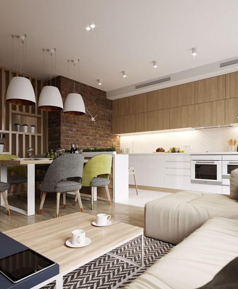 Cucina soggiorno ambiente unico, parete effetto pietra, pavimento ...