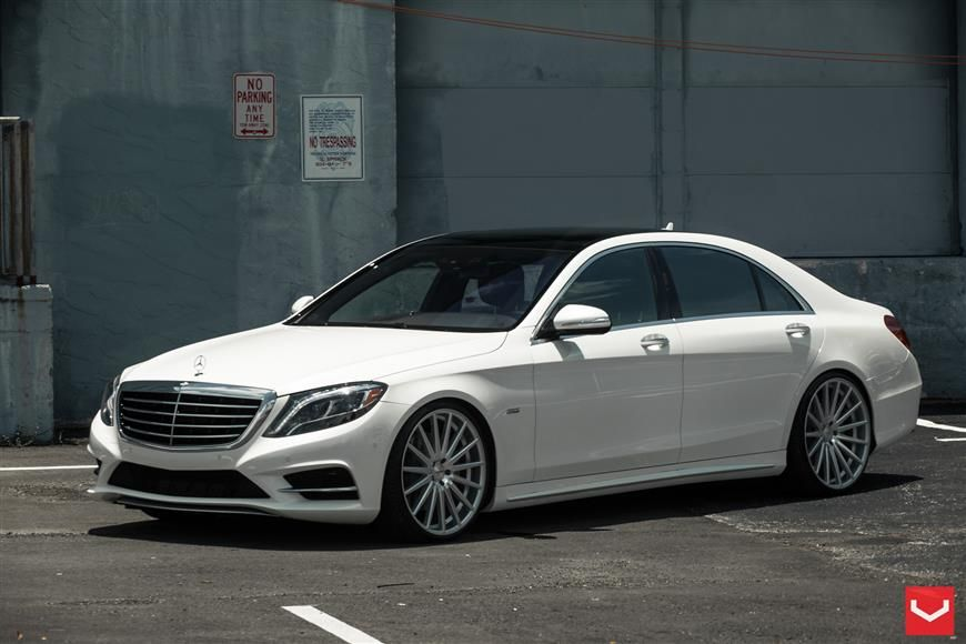 White Mercedes Benz S Class Sedan On Vfs2 Wheels With Images