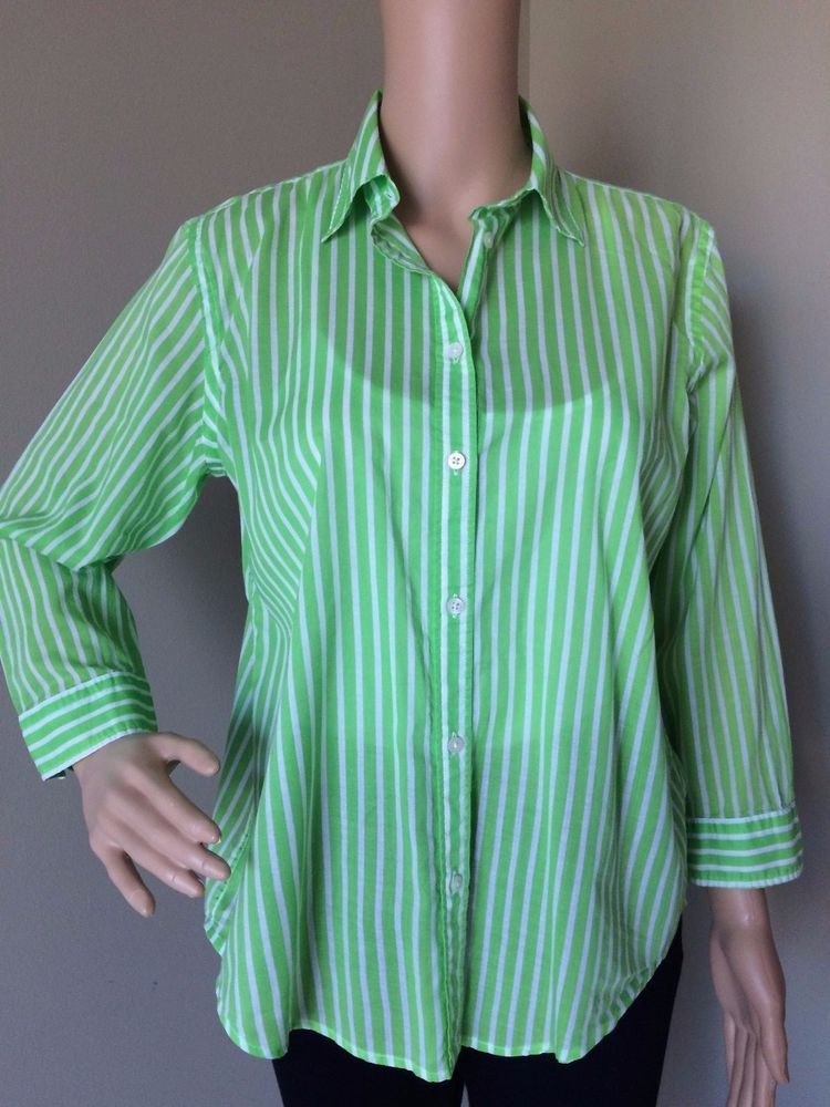 dfea2800 Ralph Lauren Women's Shirt Button Up Neon Green White Striped Long ...