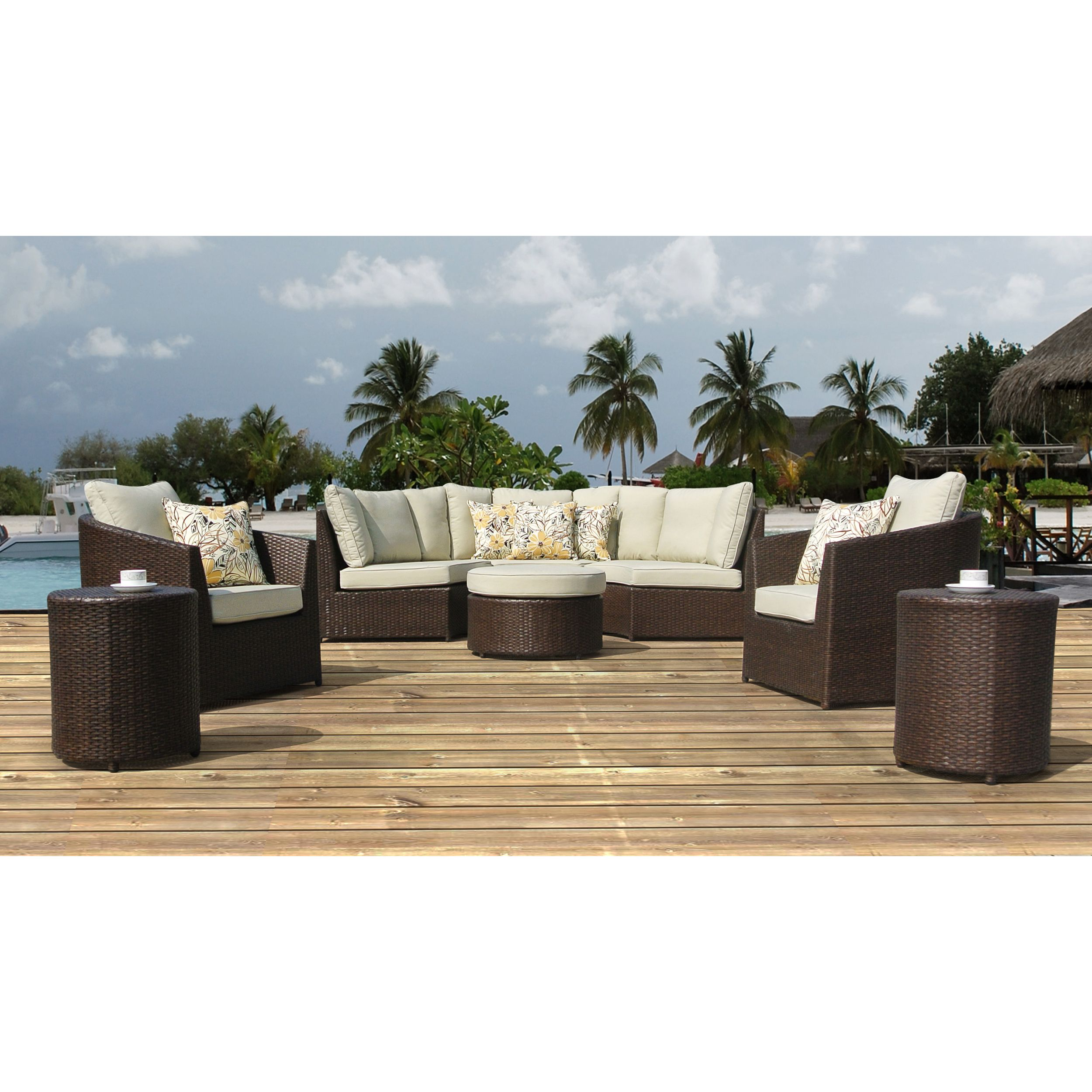 Superior Corvus Melrose Outdoor 8 Piece Brown Wicker Sofa Set By Corvus