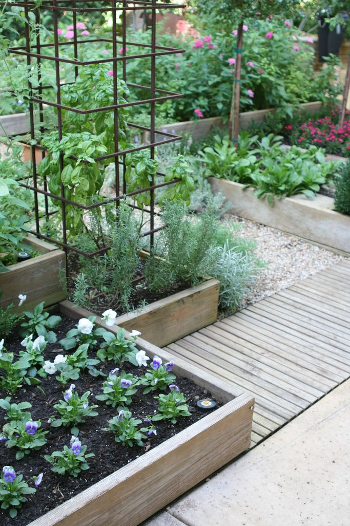 Neat garden idea with raised beds and a walkway