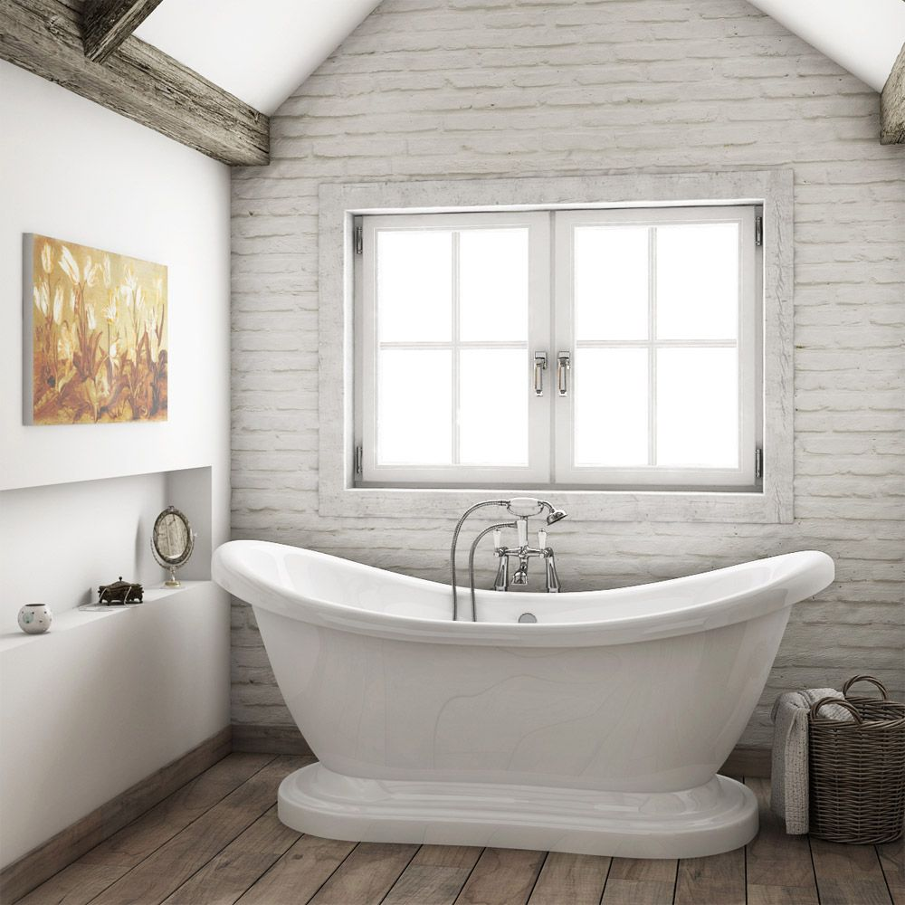 Oakland 1750 Double Ended Roll Top Slipper Bath with Skirt ...
