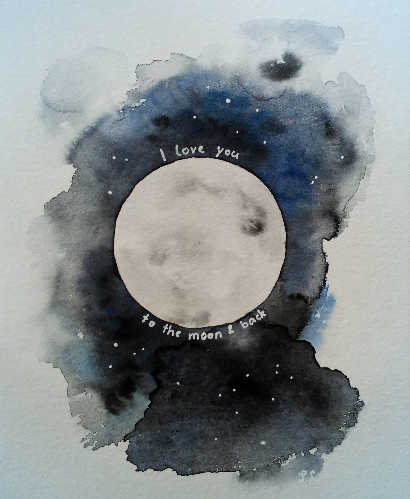 I Love You To The Moon And Back Aquarell With Images Camping
