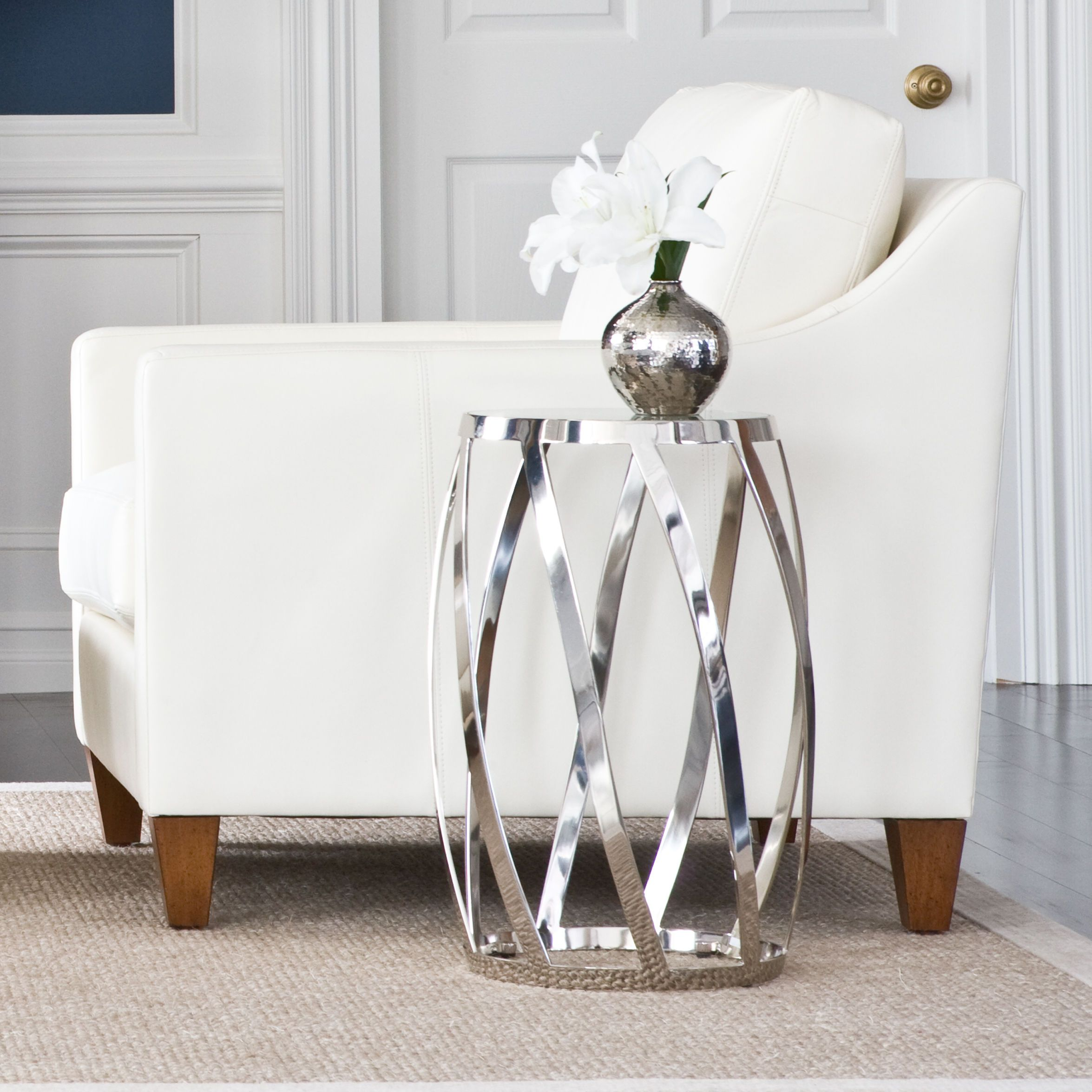 Silver Home Decor. Nickel Accent Table