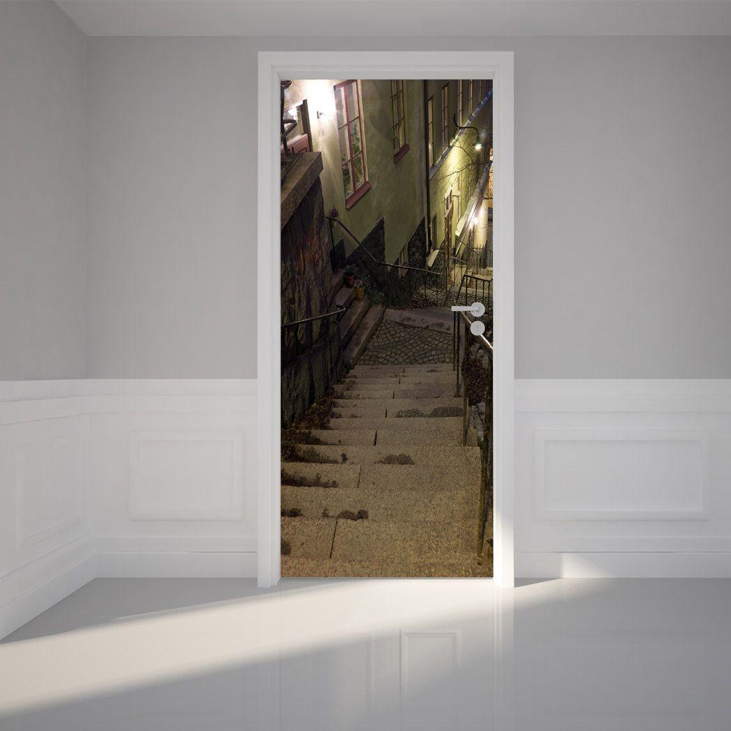 door wall sticker alley at night - peel & stick repositionable