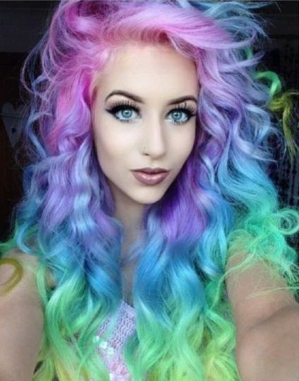 #candyfloss #pink #lilac #blue #green #mint #rainbow #pastel #hair #curls #fringe #long #voodou #voodouliverpool #gorgeous