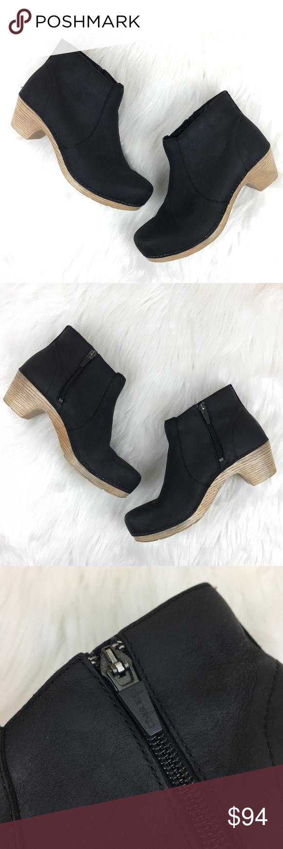 Dansko Maria Black Leather Ankle Boot