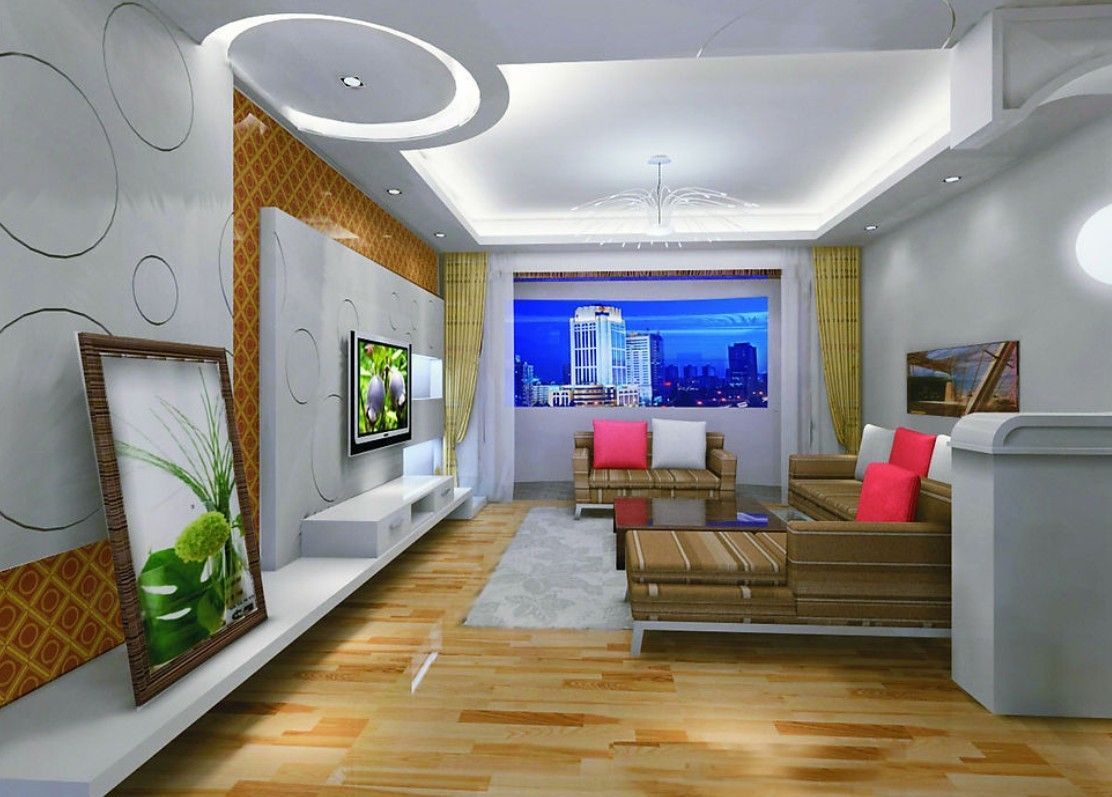 White Pop Ceiling Design And Wall Design And Brown Sofa Set In Living Room  For Home And Advice For Home Furniture And Home Decoration 42 Part 46