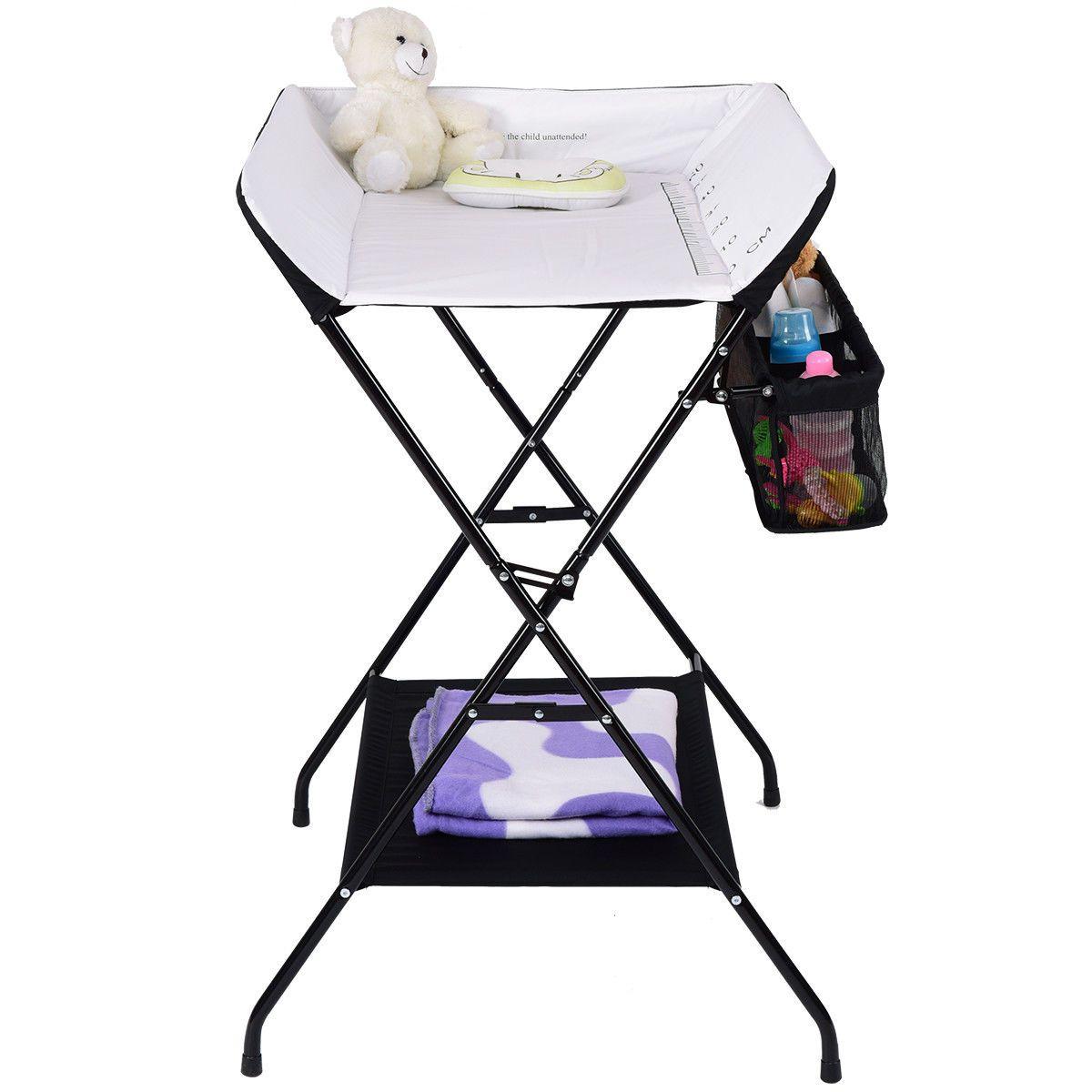 - Baby Storage Folding Diaper Changing Table-Black Baby Storage