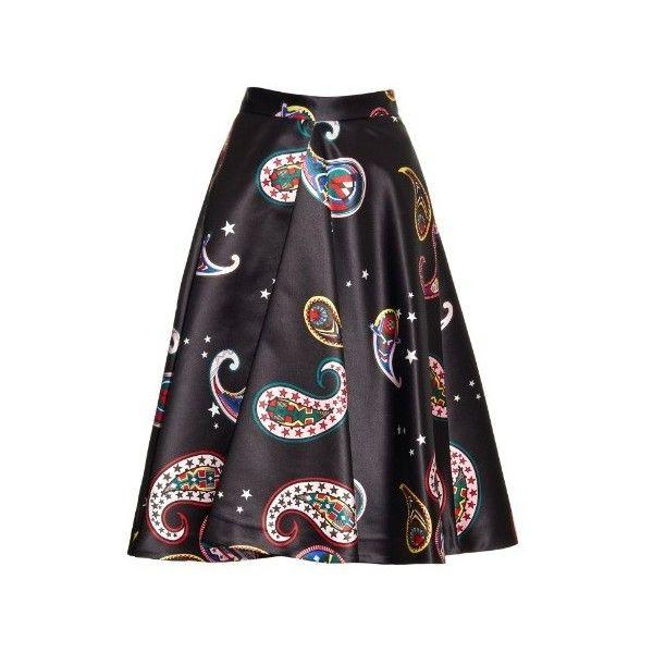 MSGM Memphis-print satin midi skirt (€360) ❤ liked on Polyvore featuring skirts, black multi, calf length black skirt, mid calf skirt, print skirt, satin skirt and pattern skirt