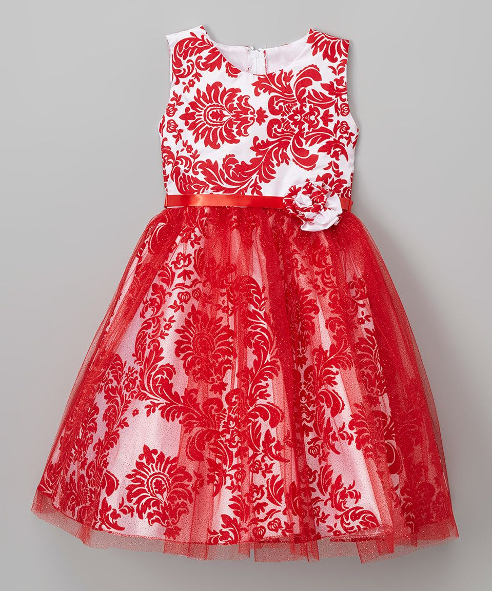 Love this kid fashion red damask aline dress infant toddler