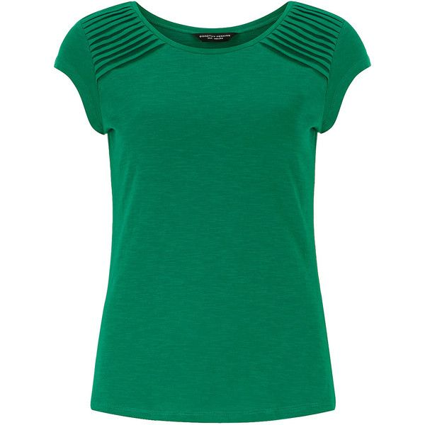 Dorothy Perkins Green pintuck shoulder tee ($17) ❤ liked on Polyvore