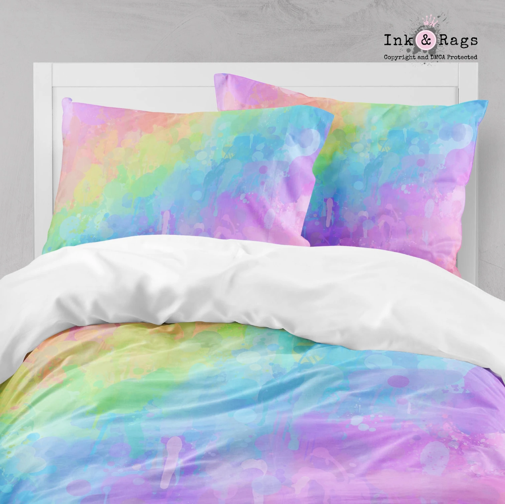 Rainbow Paint Splatter Big Kids Bedding In 2020 With Images Rainbow Bedding