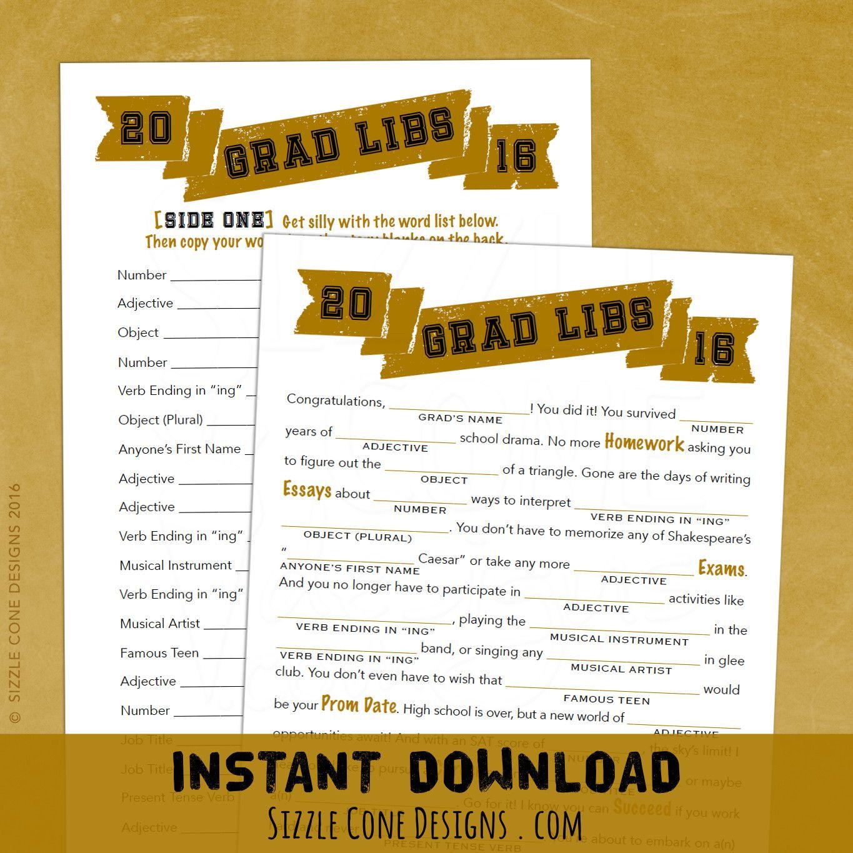 Grad Libs High School Graduation Party Game