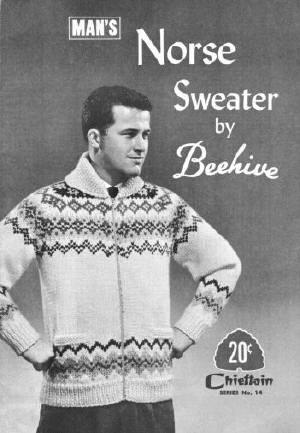 Men Fair Isle Norse Sweater Jacket Vintage Knitting Pattern for ...