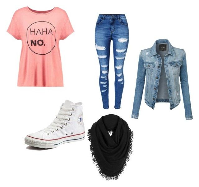 """""""Fall thang"""" by mandieluver on Polyvore featuring even&odd, WithChic, Converse, LE3NO and White + Warren"""
