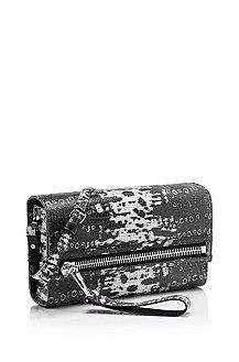 'Helda-W' | Leather Clutch with Detachable Shoulder Strap, Black