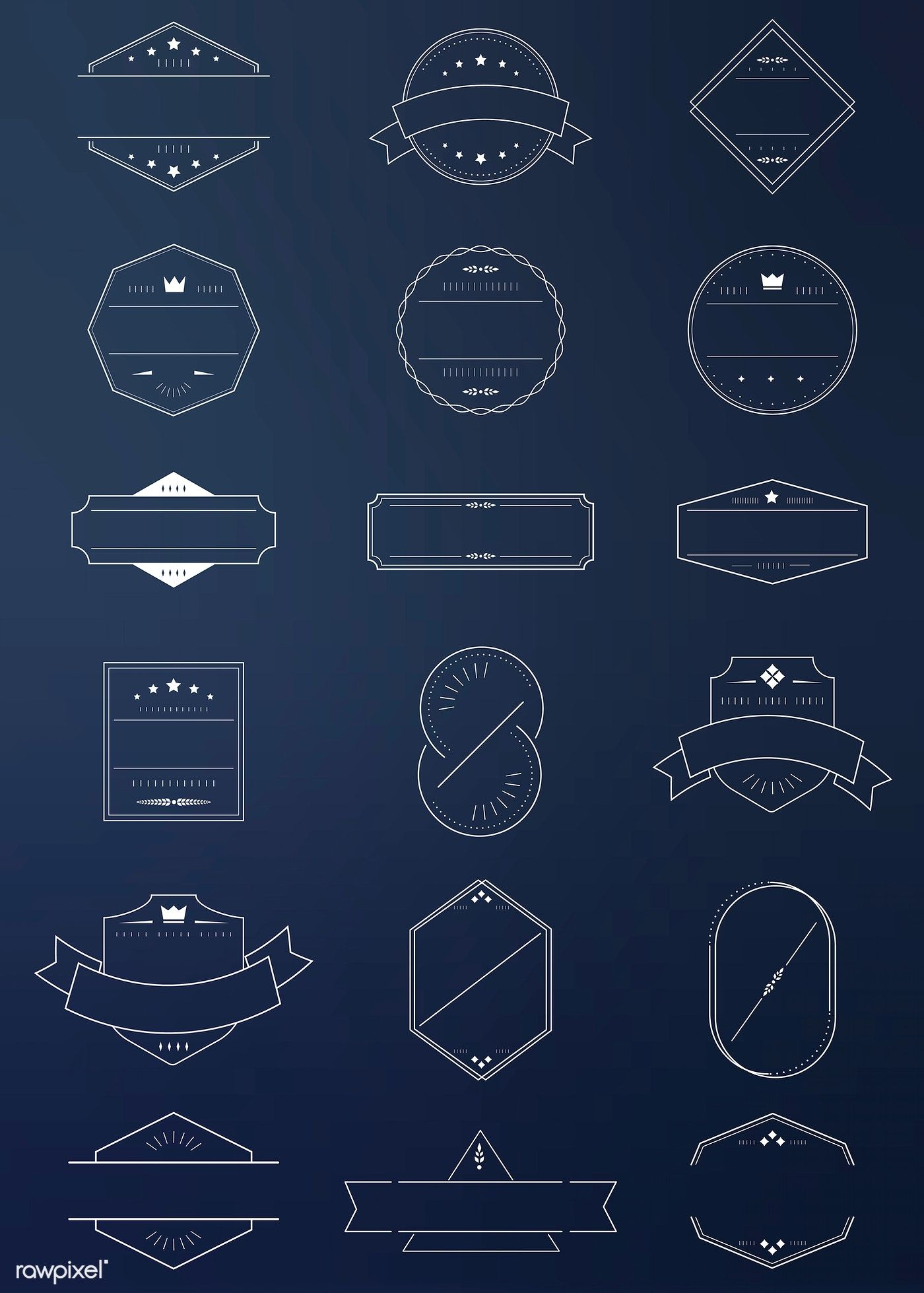 White badges on blue background vector collection free