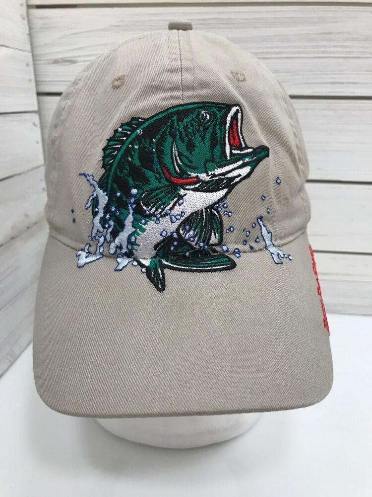 Bass Pro Shops Embroidered Fish Logo Baseball Cap Hat Fishing Strap Back Tan Bassproshops Baseballcaptrucker Bass Pro Shop Hat Fish Logo Vintage Trucker Hats