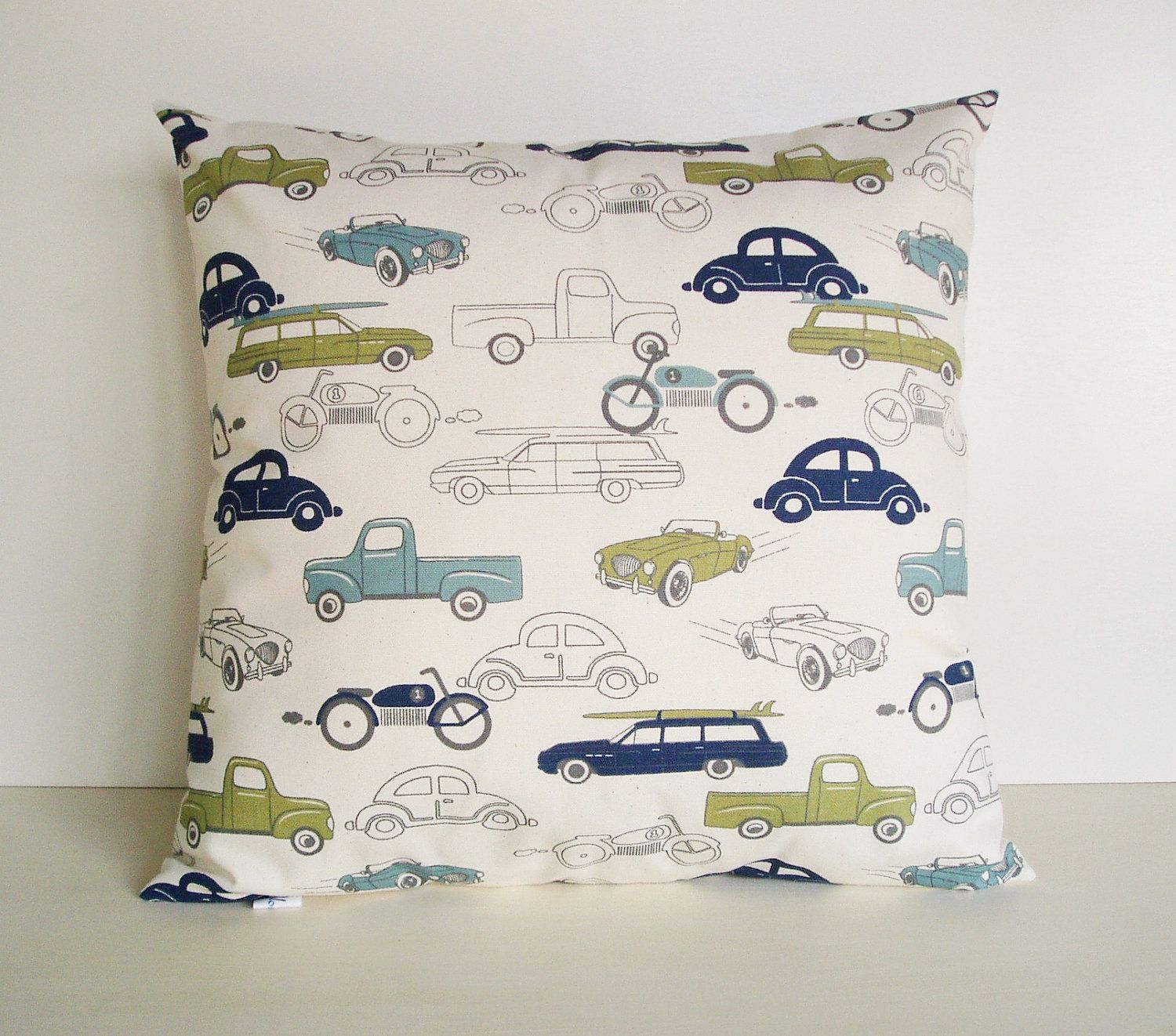 Car Pillow Cover Kids Pillow Decorative Pillow Navy Pillow Nursery