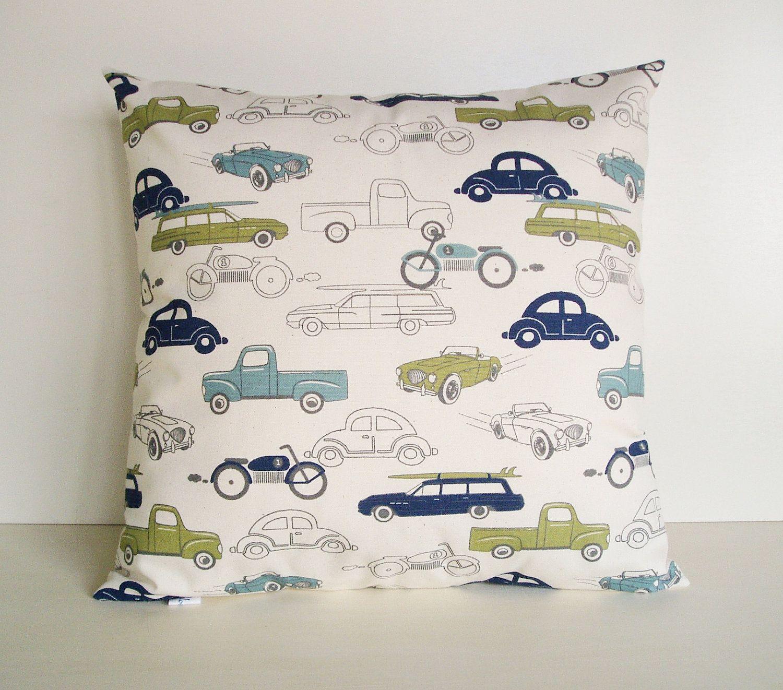 Car Pillow Cover Kids Pillow Decorative Pillow Navy Pillow Nursery