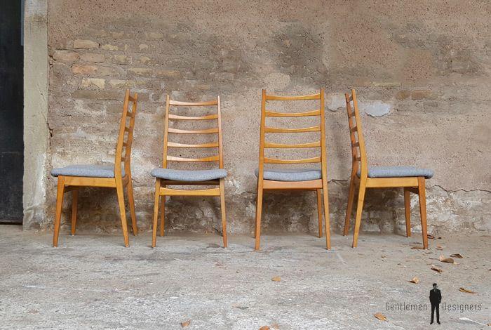 Lot 4 Chaises A Barreaux Vintage Tissu Gris Chaise 4 Chaises