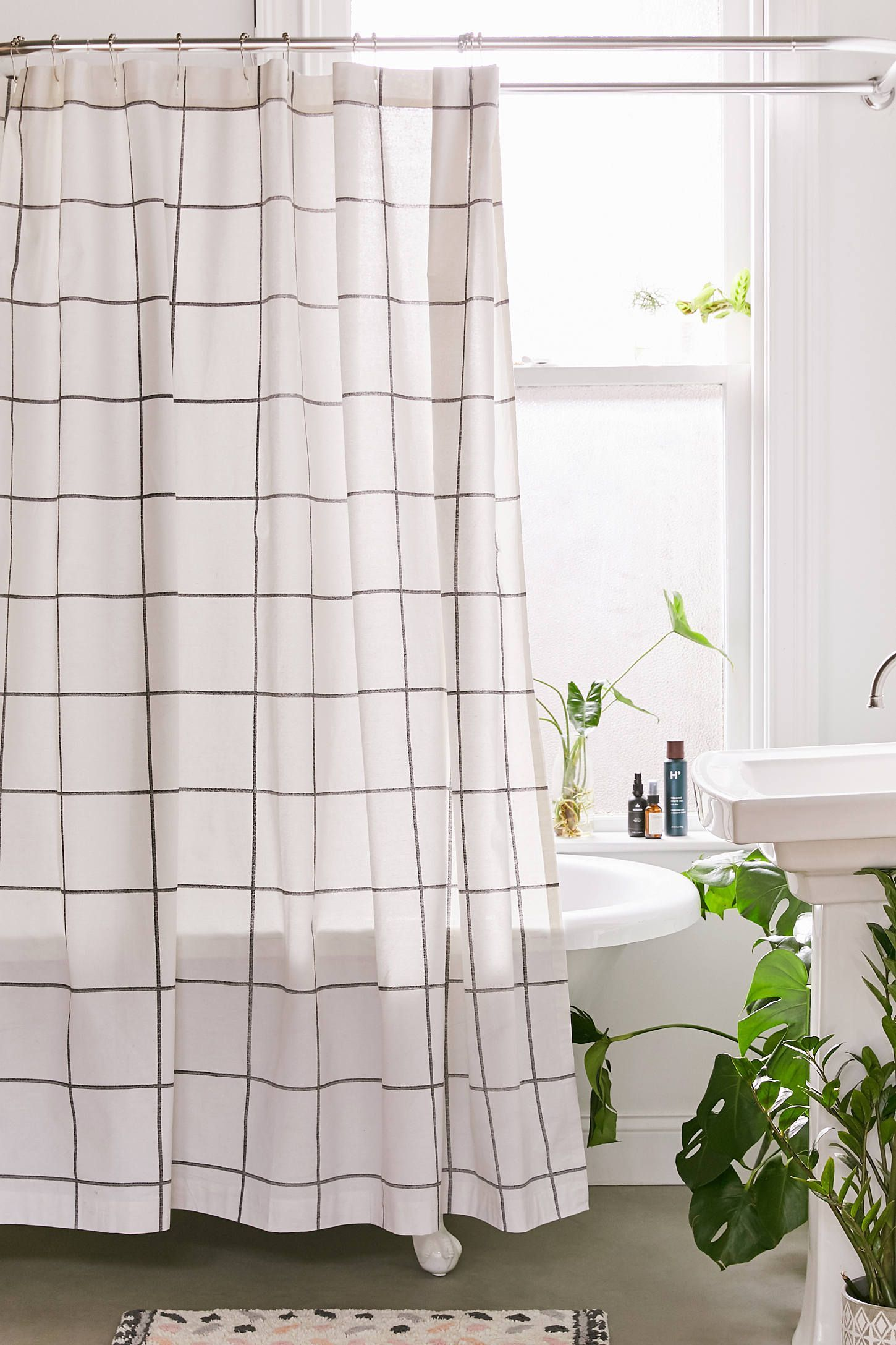 Urban Outfitters Distressed Check Shower Curtain In 2020