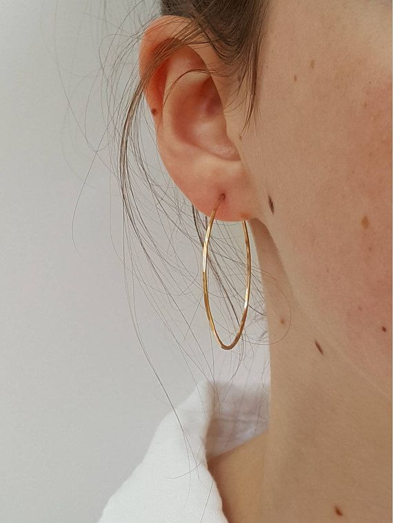 Large Gold Hoop Earrings 40 50 Mm Hammered Thin