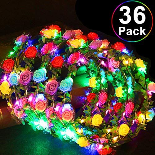 36 Pack Party Favors LED Headband Flower Crowns, Flashing Flower Wreath Headband Glow in The ... #crownheadband