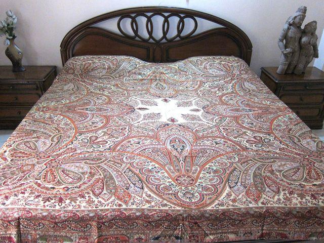 Cashmere Pashmina Bedspreads Maroon Indian Bedding King Size Sofa