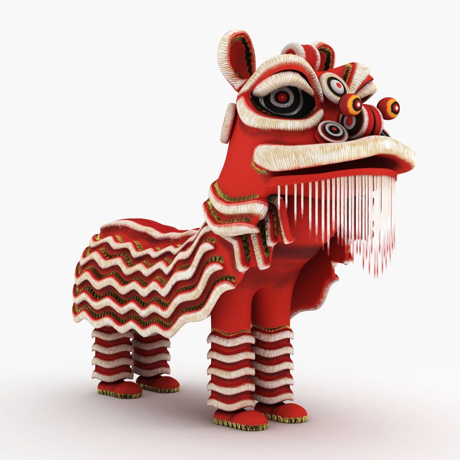 3d model chinese lion dance traditional luck lunar