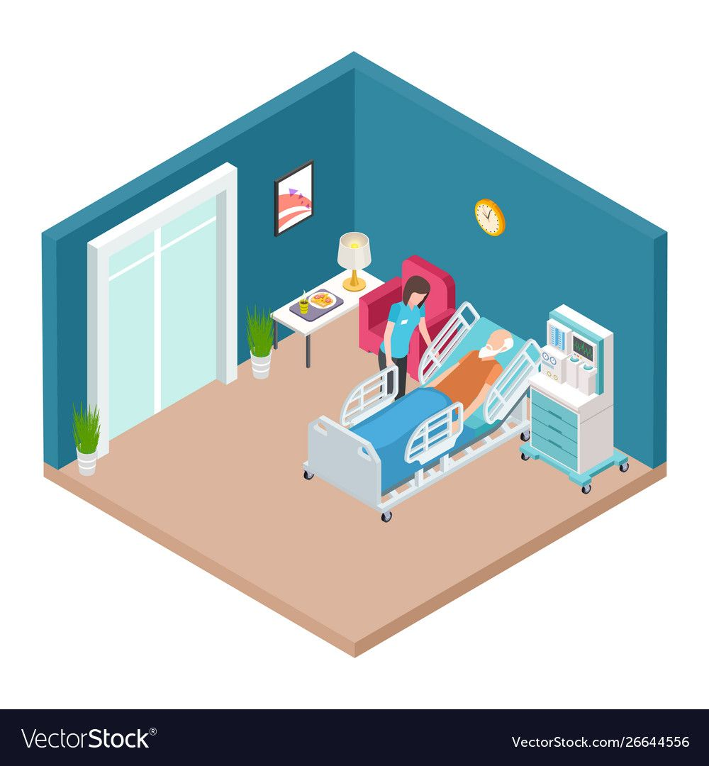 Hospital ward resuscitation interior Royalty Free Vector