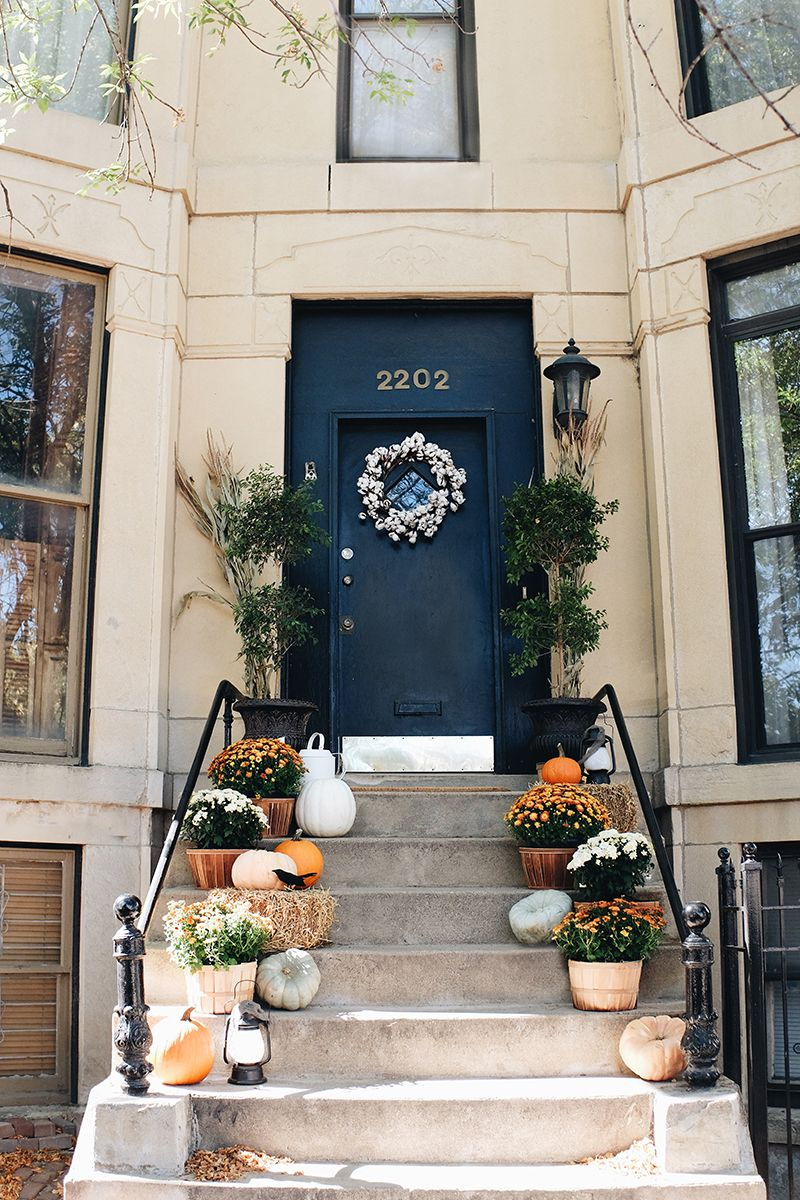 Fall Decor For Front Steps Or Front Porch Mums And Pumpkins Alaina Kaczmarski House Stoop Decor Fall Outdoor Decor Porch Decorating