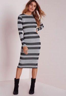 984c12f2a100 Long Sleeve Midi Dress Grey Stripe