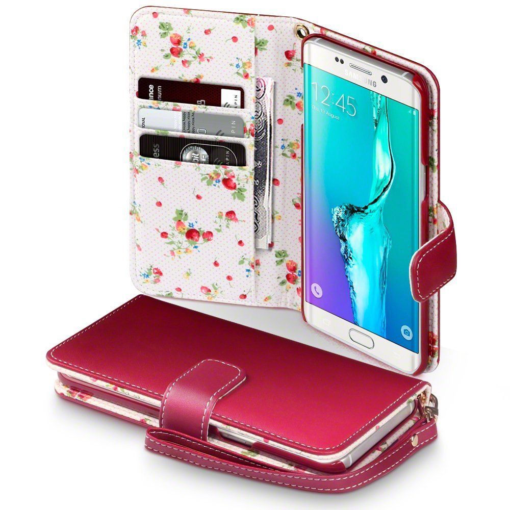 Samsung Galaxy S6 Edge Plus Hulle Leder Rot Mit Blumen Interior Samsung Galaxy S6 Edge Samsung Galaxy S6 Leather Wallet Case