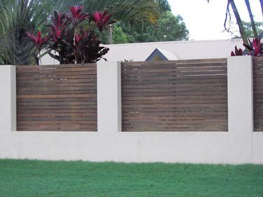 Rendered block fence with timber insets backyard heaven for Rendered garden wall designs
