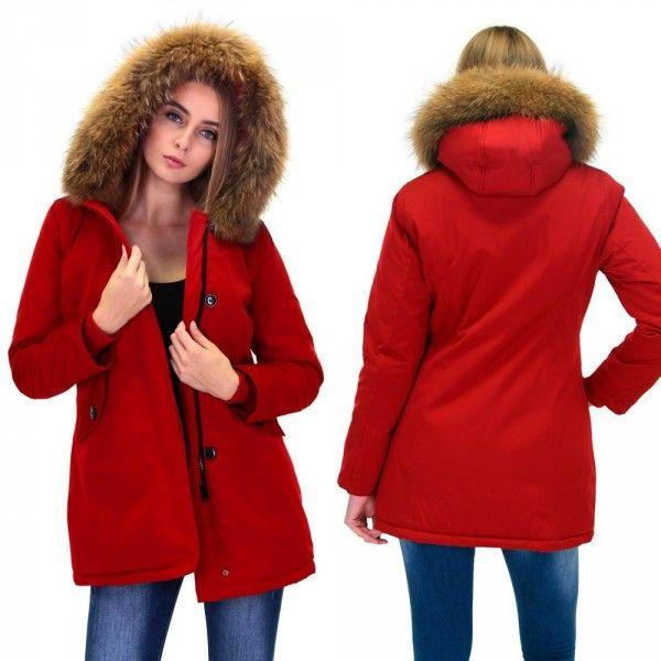 gloednieuw uitgebreide selectie koop het beste Dames Rood Winterjas met Grote Bont   Dames Parka ...