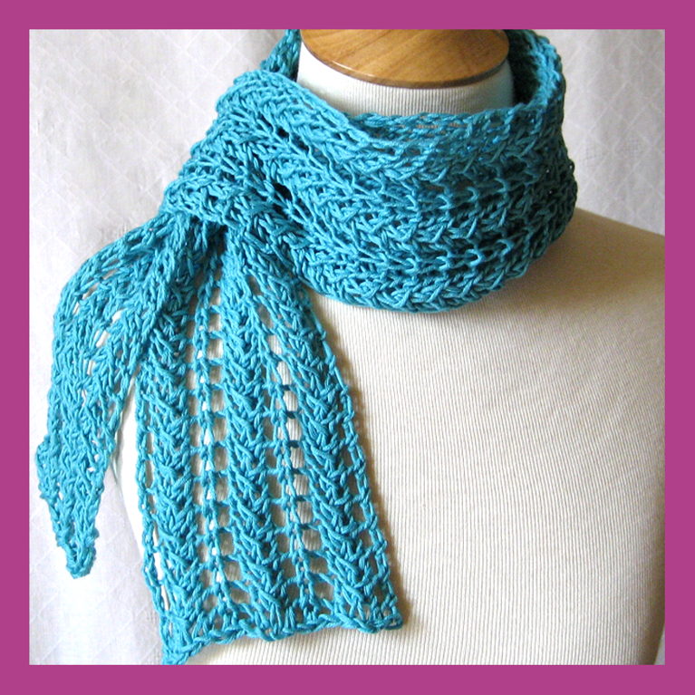 Knitting Patterns For Scarves On Pinterest : Cotton Lace Scarf Pattern at Craftsy - great for Spring and Summer. Knittin...