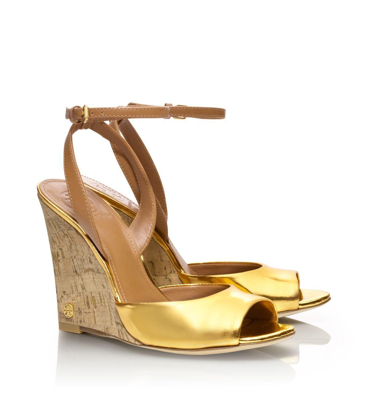 4ff590b6f5f0 Tory Burch Metallic Ashton Wedge Sandal in Gold (gold royal tan)