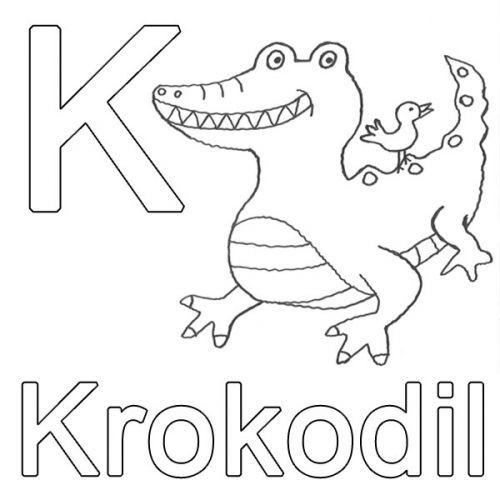 Buchstaben lernen: Kostenlose Malvorlage: K wie Krokodil zum ...