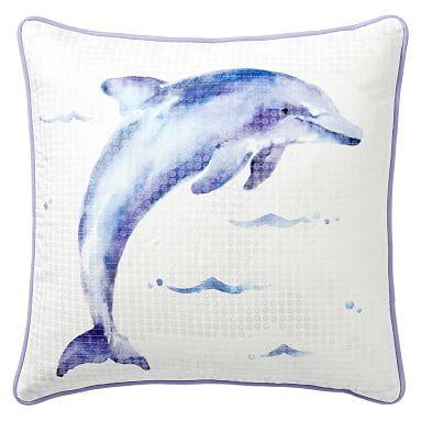 Sea Creature Pillow Cover, 18x18, Dolphin